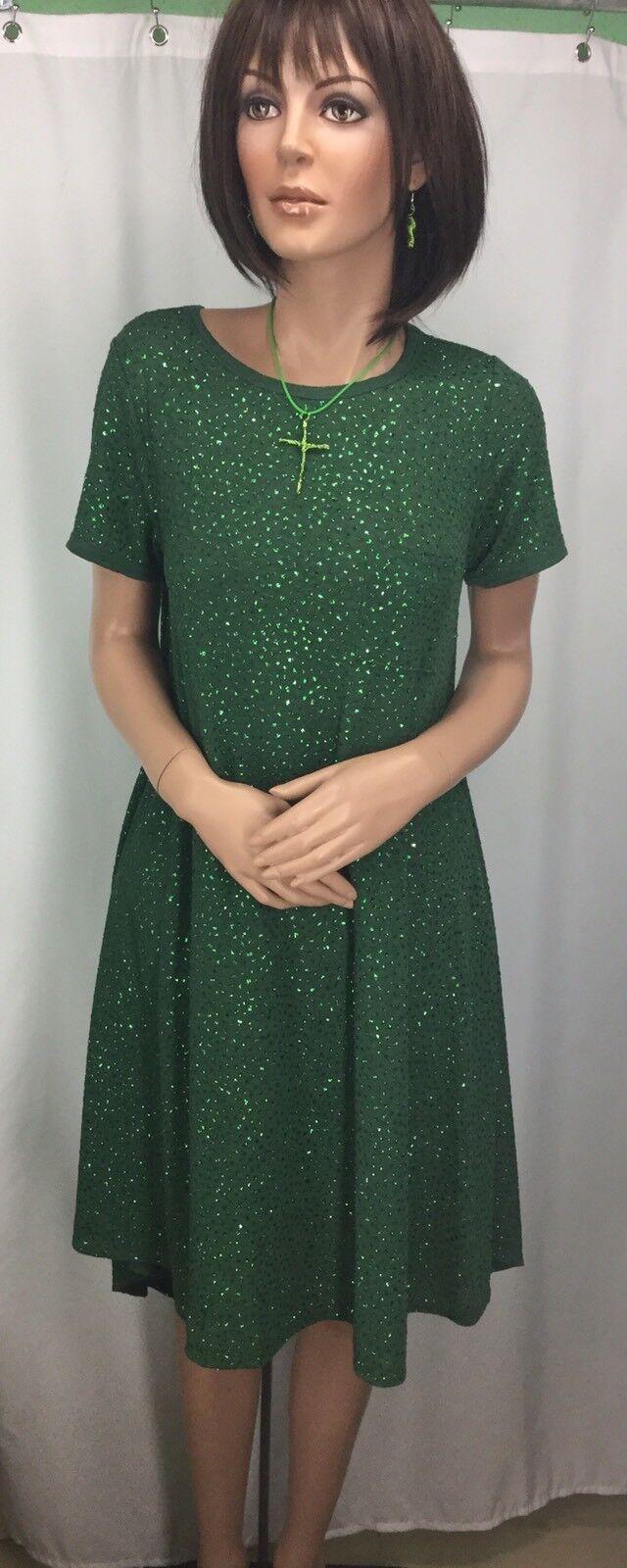 Lularoe Carly Grün Dress With Sparkle Womwens Größe XS NWT 180327MMT WDB
