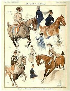 RARE-Vintage-SIDESADDLE-Antique-Horse-FRENCH-Magazine-Cover-CANVAS-Art-PRINT