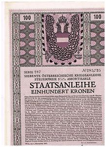Siebente-Osterr-Kriegsanleihe-Wien-1917-100-Kronen-ungelocht-Kupons