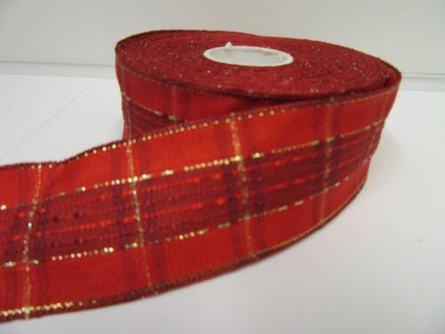 2 metres or 20 metre Roll 40mm Wired Tartan Ribbon Stewart Red Green Gold