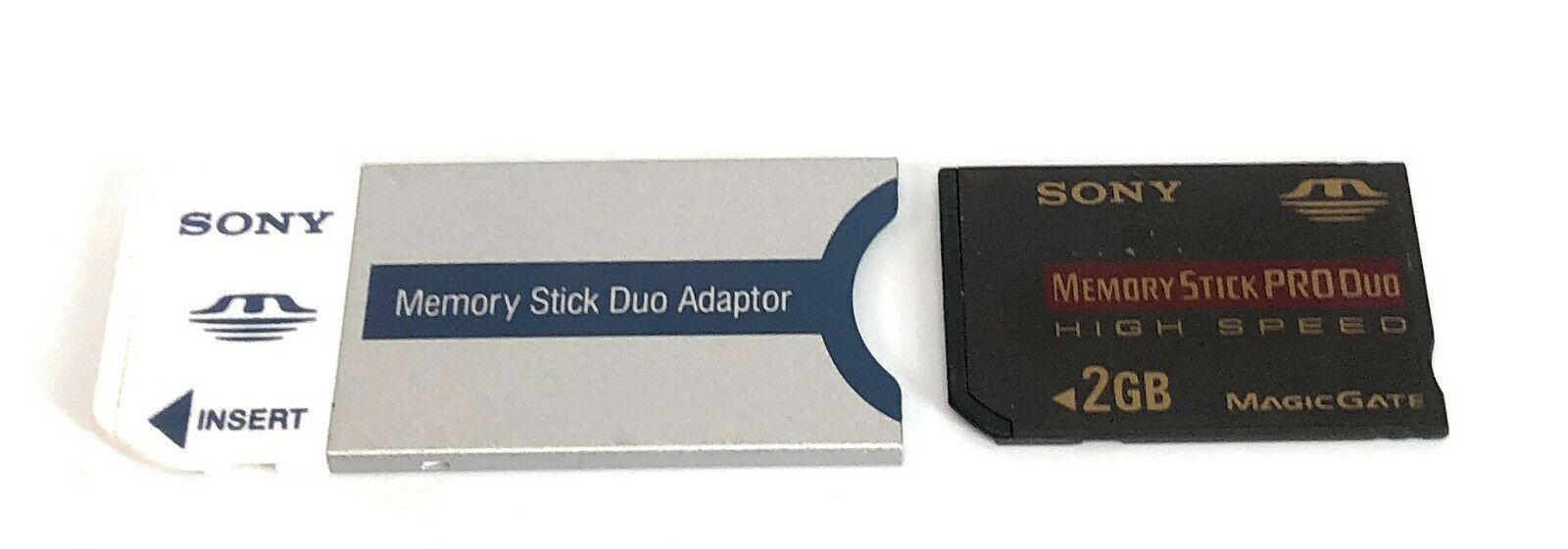 Sony Memory Stick PRO Duo 2gb Magic Gate + Adapter MSAC-M2 Genuine New Unboxed