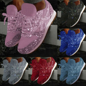 Women-Fashion-Casual-Breathable-Bling-Lace-Up-Sport-Running-Shoes-Sneakers-US