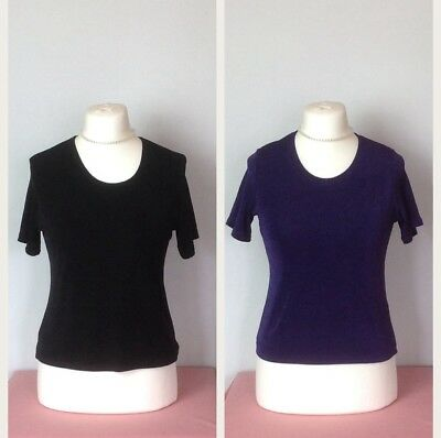 56f31e6564172e 2 x Short Sleeve Slinky Stretch Jersey Tops Black   Purple 10