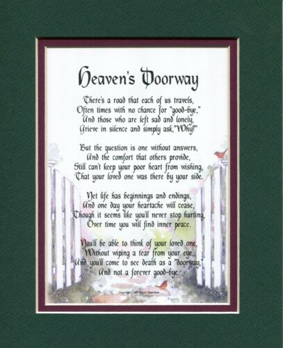 Heaven/'s Doorway Double-matted in DarkGreen//burgundy #103 Touching 8x10 Poem