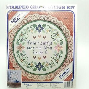Stamped-Cross-Stitch-Kit-Friendship-Warms-the-Heart-8-5-inch-Quick-Easy-30886