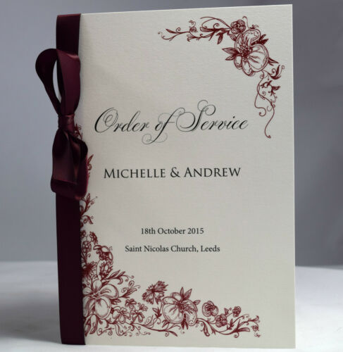 Wedding Order Of Service Vintage Border Booklets With Satin Ribbon Luxury Cover Only Burgundy