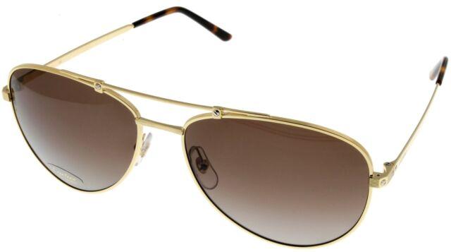 40f953c1dcd Cartier Santos De Men Polarized Sunglasses Brushed Gold Aviator ESW00131