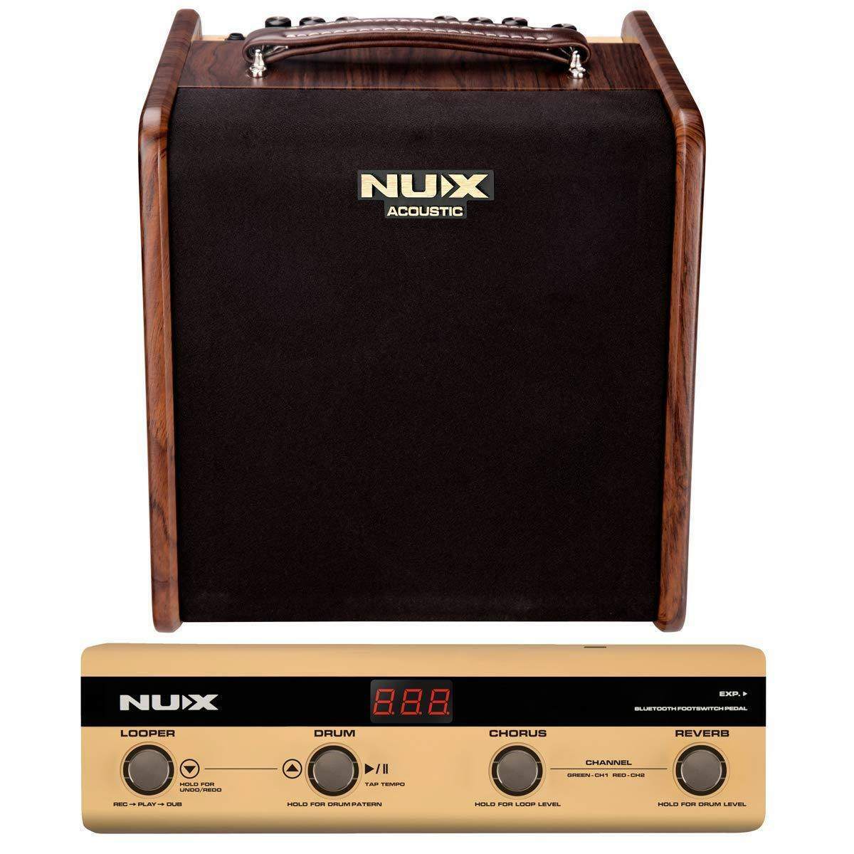 Nux Stageman Acoustic Guitar Amplifier w  Digital FX & Jam Function w Footship