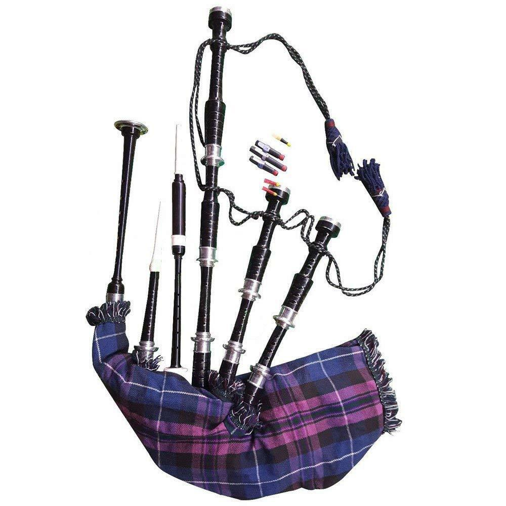Scottish Highland Bagpipe Silver Black Finish Tutor Book /& Accessories Dudelsack