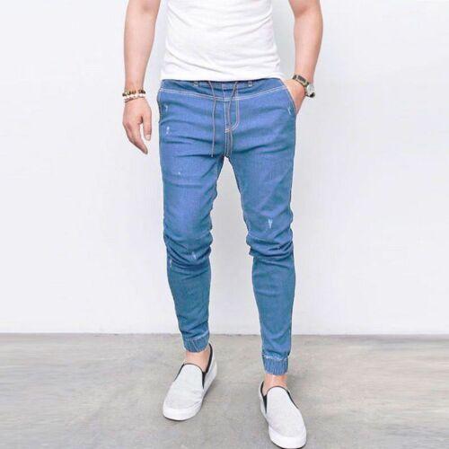 Mens Casual Elasticated Plain Skinny Stretch Denim Pants Slim Fit Jeans Trousers