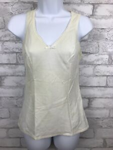 Vintage Lorraine Tank Cami Slip Top Lace Detail Nylon Cotton Ivory Size Medium