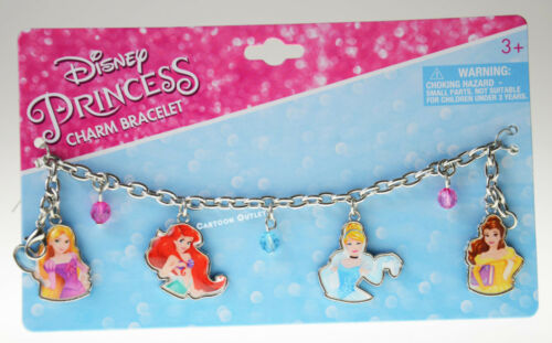 THE LITTLE MERMAID'S GIRLS JEWELRY DISNEY PRINCESS BRACELET CINDERELLA BELLE NEW