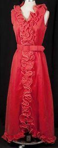 Details About Vtg 70s Red Boho Wedding Dress Tuxedo Ruffle Polka Dot Wiggle Cocktail Maxi