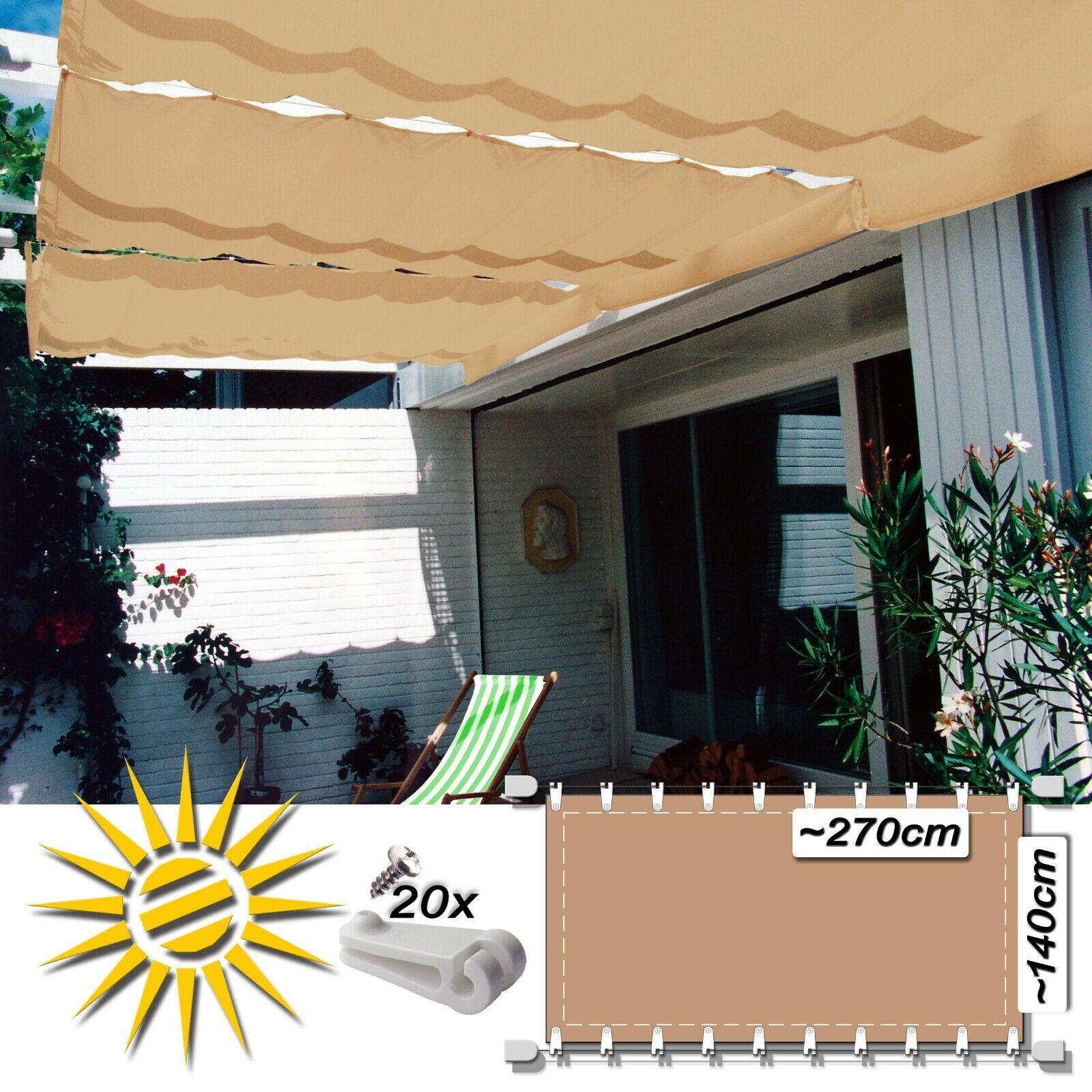 Corda serraggio Tenda sabbia ca 270x140 cm Pergola COMPLETO set20 CORSA gancio vela parasole
