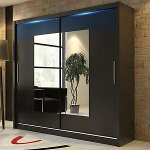 wardrobe kola 06 180 sliding doors mirror hanging rail shelves black