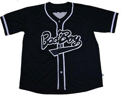 Biggie Bad Boy #10 Baseball Jersey Stiched Buttons Short Sleeve Black White