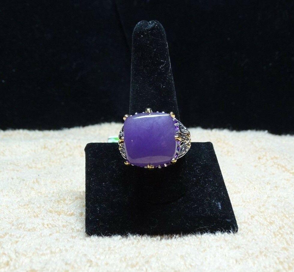 Mojave Purple Jade, Amethyst Vermeil YG Platinum Over 925 SS Ring Size 11