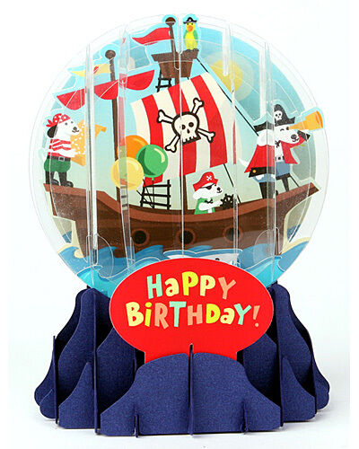 UP-WP-EG-001 PIRATE DOGS BIRTHDAY 3D Pop Up Snow Globe Greetings Card