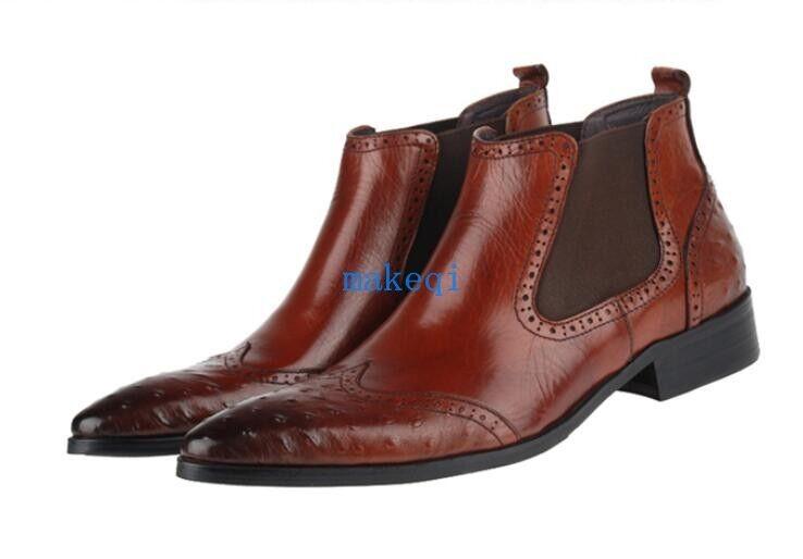 Moda Hombre Casual Wing Tip resbalón en el vestido de cuero verdadero Tobillo botas Zapatos Brogue