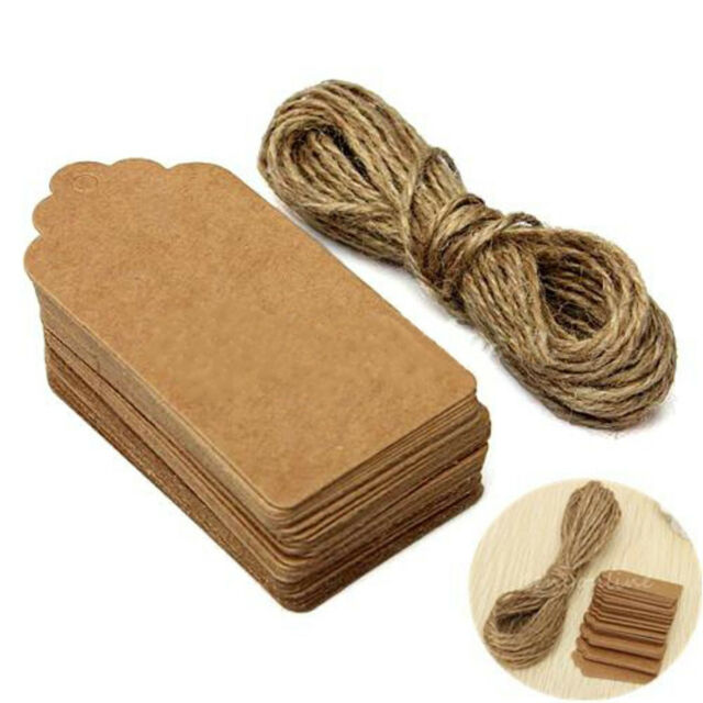 100pcs Brown Kraft Paper Hang Tags Label Wedding Party Scallop Price Gift Cards