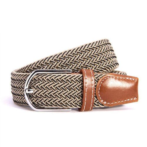 Men Women Casual Pin Buckle Belt Woven Canvas Braided Elastic Stretch Waist Belt