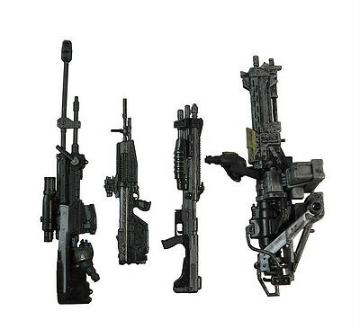 "4pcs Weapon Marksman Sniper Shotgun Rifle Machine Gun Turret For 6"" Halo Figure"