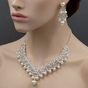 a2467479ca5b Image is loading Silver-Plated-Pearl-Crystal-Necklace-Earrings-Bridal- Wedding-