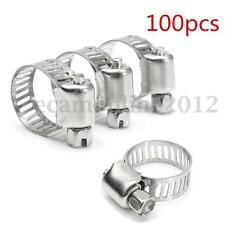 100pcs 1/4''-5/8'' Stainless Steel Hose Clamp Screw Band Worm Drive Pipe Clips
