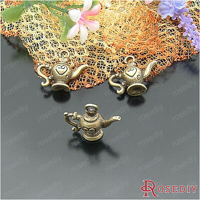(21892)10PCS 20*22MM Antique Bronze Alloy Heart teapot charms Jewelry Findings