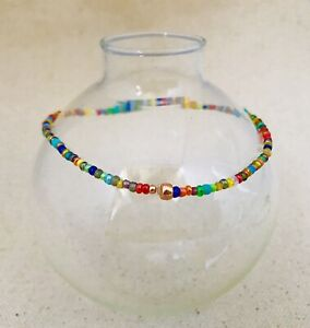 Stretch-Ankle-Bracelet-Seed-Bead-Pretty-Multi-Color