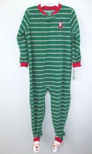 Carter-039-s-Boys-Pajamas-Christmas-Footed-Fleece-Sleeper-Green-Striped-Santa-Sz-4T