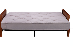 Sofa Bed Wood Arm Futon With 8 Coil