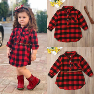 Christmas Plaid Toddler Kids Baby Girl Outfit Clothes T Shirt Top Dress+Belt Set