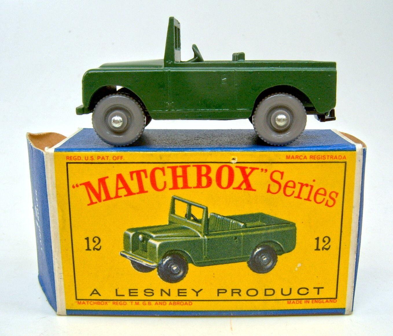 Matchbox 1-75 serie 12b Land Rover verde oliva gris ruedas top en  d  Box