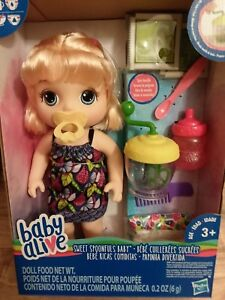 Baby Alive New Sweet Spoonfuls Doll Blonde With Paci And
