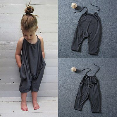 Toddler Kids Baby Girls Summer Strap Romper Jumpsuit Bodysuit Clothes Outfits