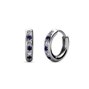 6eb750e4c Image is loading Petite-Blue-Sapphire-and-Diamond-Womens-Hoop-Earrings-