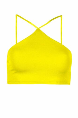 Womens Plain High Neck Summer top Ladies Spaghetti Strappy Cami Bralet Crop Top