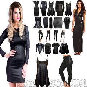 NEW-WET-LOOK-WOMENS-PVC-SEXY-BODYCON-DRESS-MINI-SKIRT-TOP-LEGGINGS-PLUS-SIZE