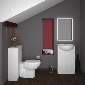 Détails sur Salle de Bain Vestiaire Combinaison vanité bassin évier WC  Unité Yubo Blanc option- afficher le titre d\'origine