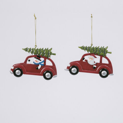 Retro Hanging Holiday Santa And Snowman Behind The Wheel Ornament With Tree Set
