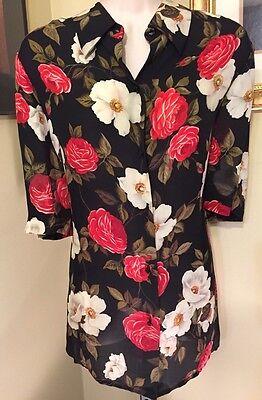 Easy Spirit 100% Silk Black Vintage Floral Button Short Sleeve Blouse 1 plus