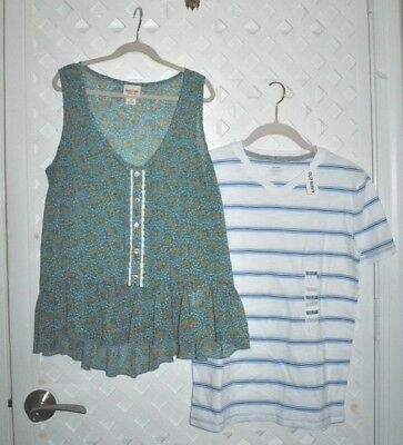 2 Piece Lot Mossimo Chiffon Blouse & Old Navy V-neck Cotton T-shirt W/ Tag Large Women's Clothing
