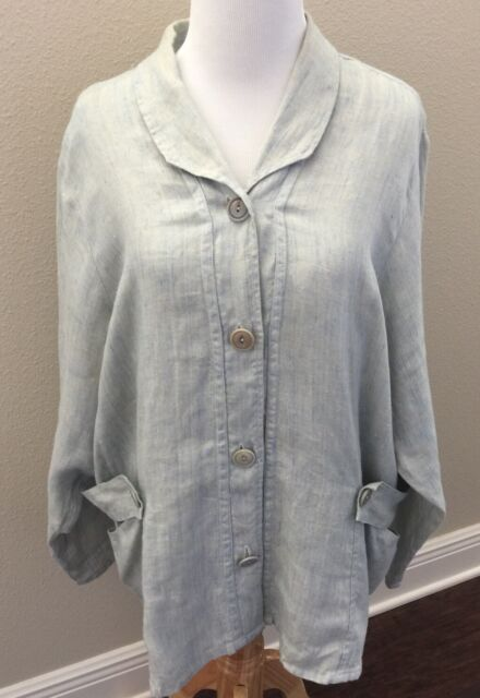 FLAX Engelhart Small Blue 100% Linen Jacket Top Side Pockets