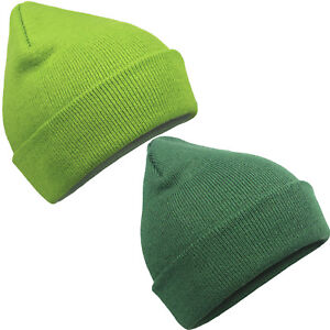 6c96a86d091 Image is loading Eurotshirts-Green-Turn-Up-Knit-Beanie-Winter-Hat