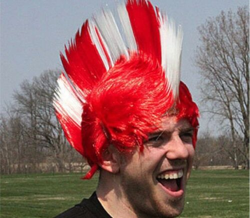 SWITZERLAND World Cup Wig Red and White Mohawk Football Party Fancy Dress