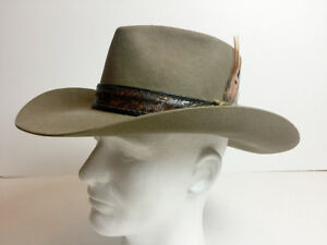 3475e264b47db Vintage Stetson Western Cowboy Hat 6 3 4 4X Tan Sage Leather Belt ...