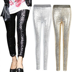 US-Womens-Stretchy-Sequins-Skinny-Leggings-Pants-Glitter-Metallic-Trousers-New