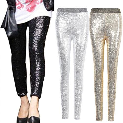 Women/'s Stretchy Sequins Skinny Leggings Pants Glitter Metallic Trouser Fashion