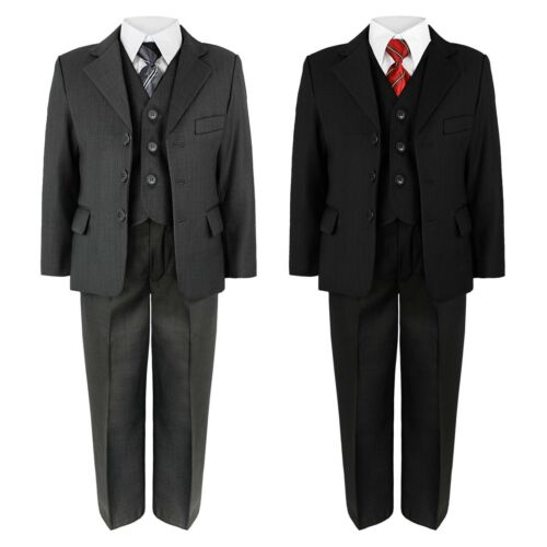 14YEAR BOYS JACKET TROUSERS SHIRT WAISTCOAT TIE 5 PIECE SUIT WEDDING PARTY 6MTH
